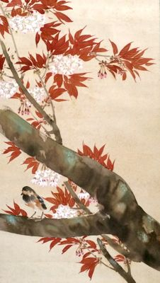 'Bird in blossoming cherry tree', old handpainted scroll painting on cloth, signed and sealed - Japan - first half 20th century