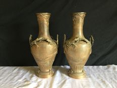 Auguste Moreau - Large pair of vases in zamak babbitt - France - end XIX