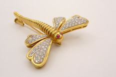 Dragonfly brooch with 0.79 ct diamonds and 0.06 ct ruby