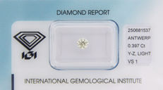 Diamond 0.397 CT Colour:  Y-Z Light Yellow   vs1