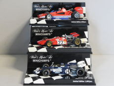 Minichamps - Scale 1/43 - Lot with 3 classic sports car models: Brabham Alfa Romeo, De Tomaso & Lotus Ford