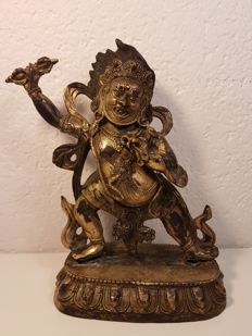 A gilt bronze figure of Vajrapani - Nepal - second half 20th century.