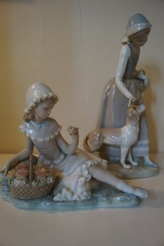 LLADRO Girl with flowers & NAO Girl holding basket with Dog figurines