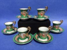 6-Piece set of porcelain gold-plated mocha cups and saucers