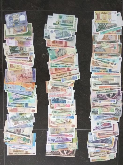 World - Collection of 175 banknotes from all over the world.