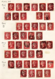 Great Britain, Queen Victoria 1864/1879 - 1d Red Stanley Gibbons 43 Plate 100 - Part Sheet Reconstruction