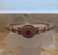 Biedermeier bracelet with approx. 63 diamonds approx. 1.115 ct and ruby approx. 0.5 ct made of 585 gold red gold 14 kt, antique around 1880