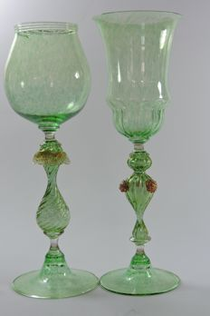 Murano - pair of blown glass goblets