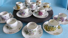 Staffordshire 12 cups and saucers - All months