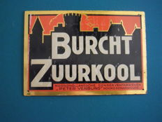 Tin sign Burcht Zuurkool 1894. 1930s