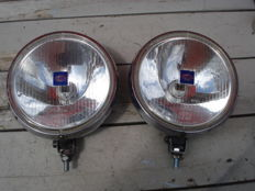 Two beautiful HELLA FLOODLIGHTS OR HIGH-BEAM HEADLAMPS with a diameter of 200 mm from the 1970s and 80s.