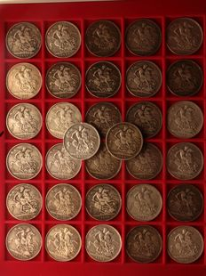 United Kingdom - Crown 1889/1900 Victoria (32 pieces) - silver