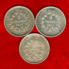 France - 5 Francs 1848-A and 1849-A and 1875-A (set of 3 coins) - Silver.