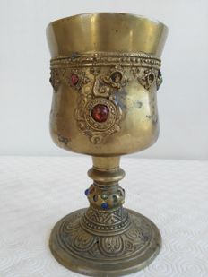 Ancient brass chalice with mounted stones - 1850 period