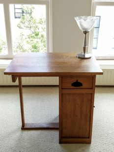 Art Deco oak desk with storage space, oak wood with black details