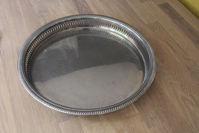 Heavily silver plated serving tray items