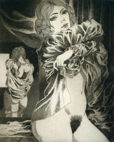 Original engraving; Celedonio Perellón - Woman with mirror - ca 1980