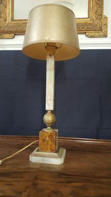 Empire marble/brass style french table lamp - 60 cm - France - second half 20th century