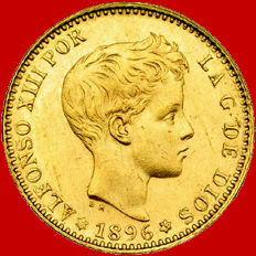 Spain - Alfonso XIII - 20 gold pesetas - 1896/*-62 - Madrid.  MPM. Official re-mintage.