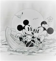 Garrido, Sergio - Original Drawing - Mickey and Minnie Mouse - Boat Trip