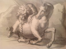 Johachim von Sandrart  (1606-1688), engraved by Richard Collin (1626-post 1696) - Leo et equus -  1675-1679