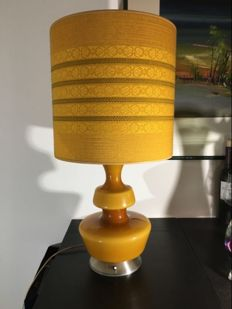 Designer unknown – Amber-coloured glass table lamp