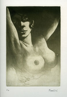 Original engraving; Celedonio Perellón - Torso of woman- ca 1992