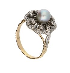Ring - Geelgoud - Diamant en parel