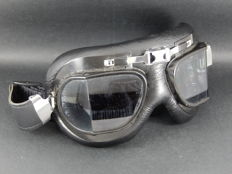 Vintage Original Black Soft Padded and Leather Retro Racing Car and Motorcycle Goggles