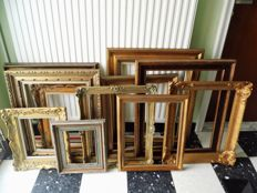 Eleven gold-plated classic painting frames