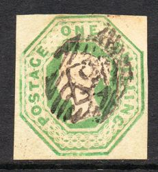 Great Britain Queen Victoria 1847 - 1 Shilling Green Embossed Issue, Stanley Gibbons 54