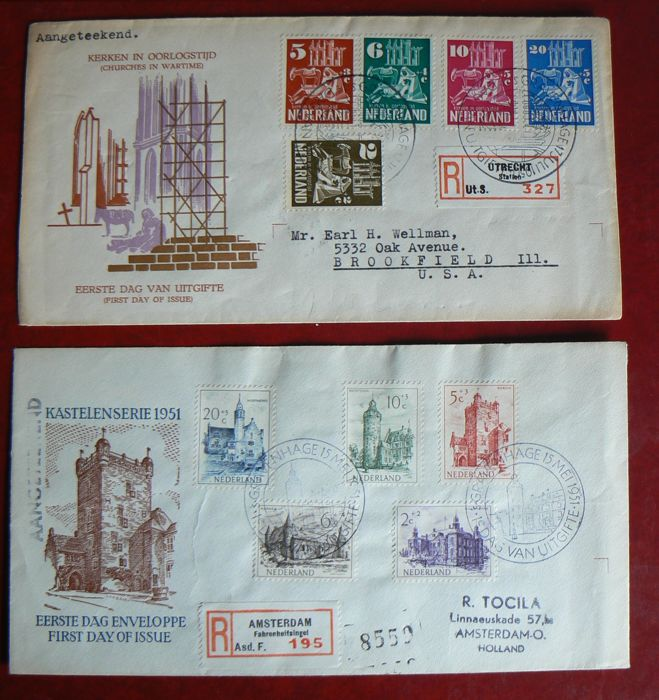 "The Netherlands 1950/1951 – FDC ""Kerken in oorlogstijd en Kind""(Churches in wartime and child) – NVPH E2 and E5."