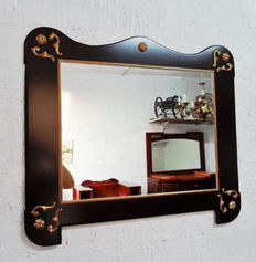 Wooden wall mirror, Italy, 1990s