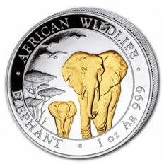 1 oz African Wildlife Series - Elephant 2015 - 100 Shillings - 999 Silver - Silver Coin with 24 karat gold finish