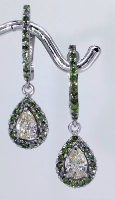 14kt gold earrings with pear-shaped diamonds & 54 fancy olive green diamonds,  total 1.15  ct