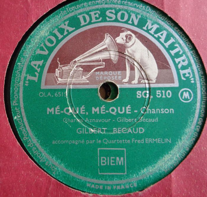 78 rpm records Frenche Chansons and Musette Music with Gilbert
