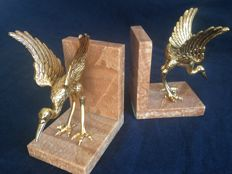 Vintage Deluxe bookends of bronze and marble