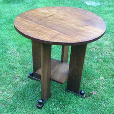 Art deco - Amsterdam School - oak side table - Netherlands 1930s