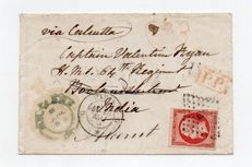 France 1858 - letter from Paris to the English Indies, tariff at 80c stamped no. 17A (Yvert and Tellier)