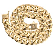 18 kt yellow gold curb link necklace with box clasp and safety clasp – 7.3 g – 21 cm