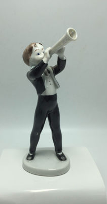 Art Deco - Hollohaza - Porcelain Musical Clarinet Boy