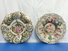 2 Large Capodimonte 3D decorative plates with gold painting
