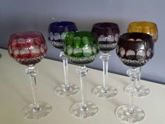 Set of 6 coloured Bohemian crystal wine glasses, second half 20th century,