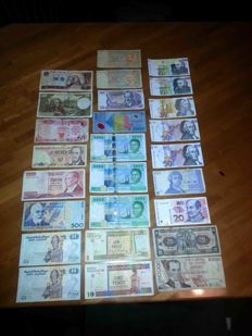 World - 91 banknotes from different States (legal tender and not), different coins.