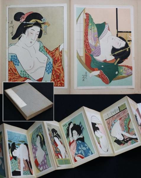 Album with thirty erotic portraits of beauties - Utamaro, Kunisada, Hokusai (reprints) - Japan - ca. 1925