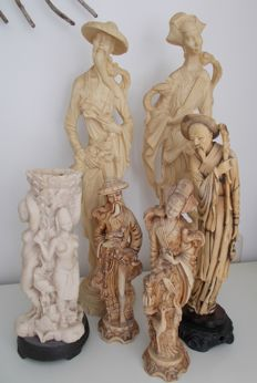 Group of 6 ivorine statues: Birdman and Geisha 2 x, a fisherman and a candle holder