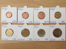 Belgium - Year collection 1 Cent up to and including 2 Euro 1999 (8 pieces)