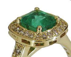 Emerald with Diamonds Engagement Ring