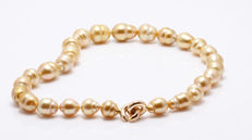 Organic Golden South Sea Pearl Necklace Baroque Shaped featuring a Rose Gold Clasp