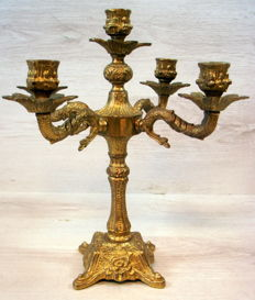 Heavy copper old 5-light candelabra